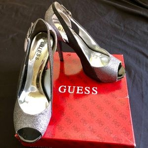 Black and silver sparkly Guess heels